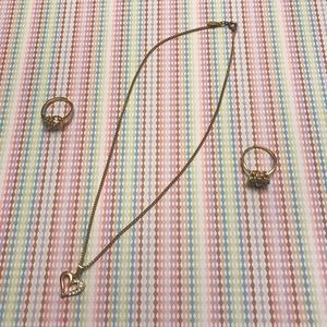 Vintage Avon: Heart Gold tone Necklace & Two Rings